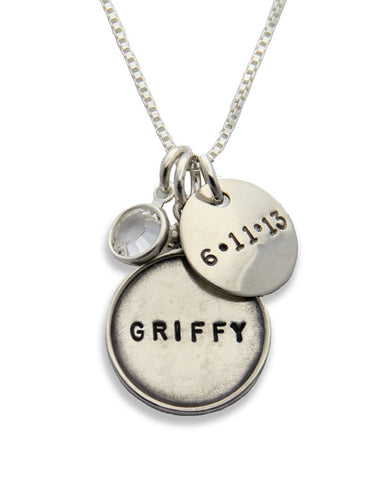 jenny present silver name tag necklace