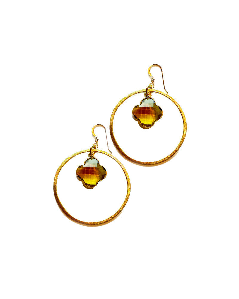 Sirissima Faceted Clover Hoop Earrings
