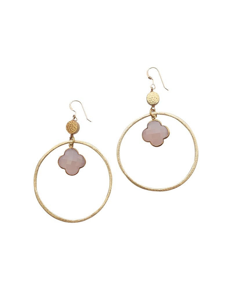 Sirissima Grover Dangle Hoop Pink Earrings