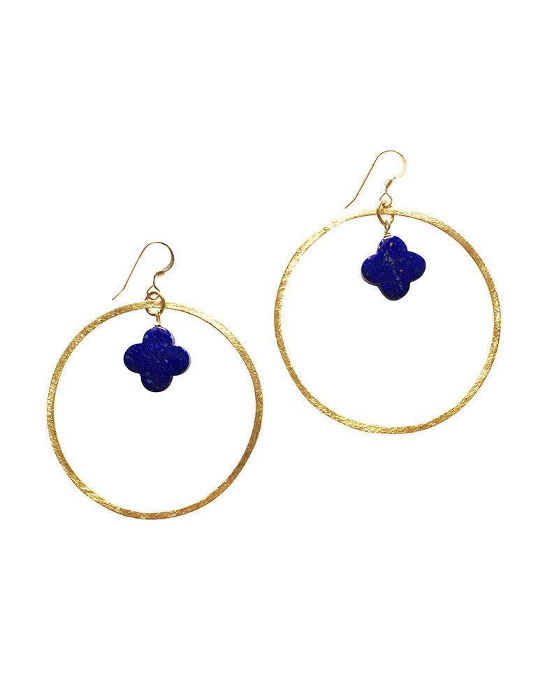 Sirissima Clover Hoop Earrings with Cobalt