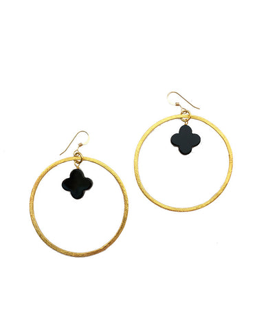 Sirissima Clover Earrings Onyx and Gold