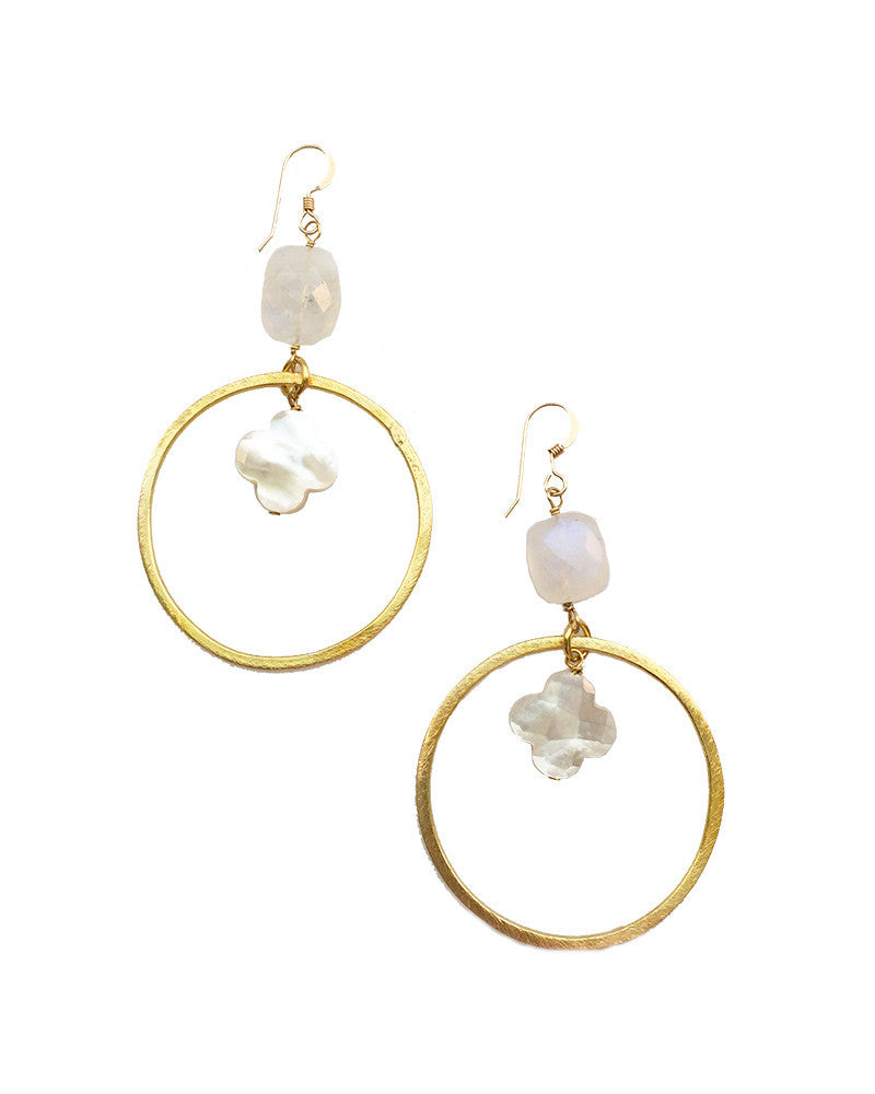Sirissima Moonstone Dangle Clover Earrings