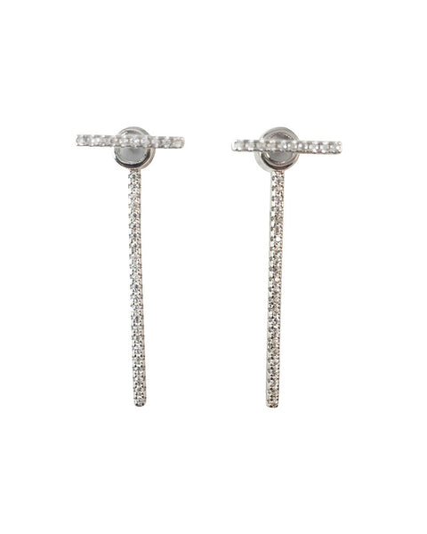 T Bar Pave Ear Drop Earrings