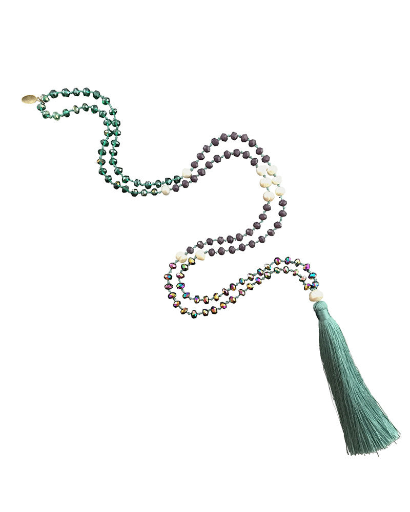 Teal Zacasha Tassel Necklace
