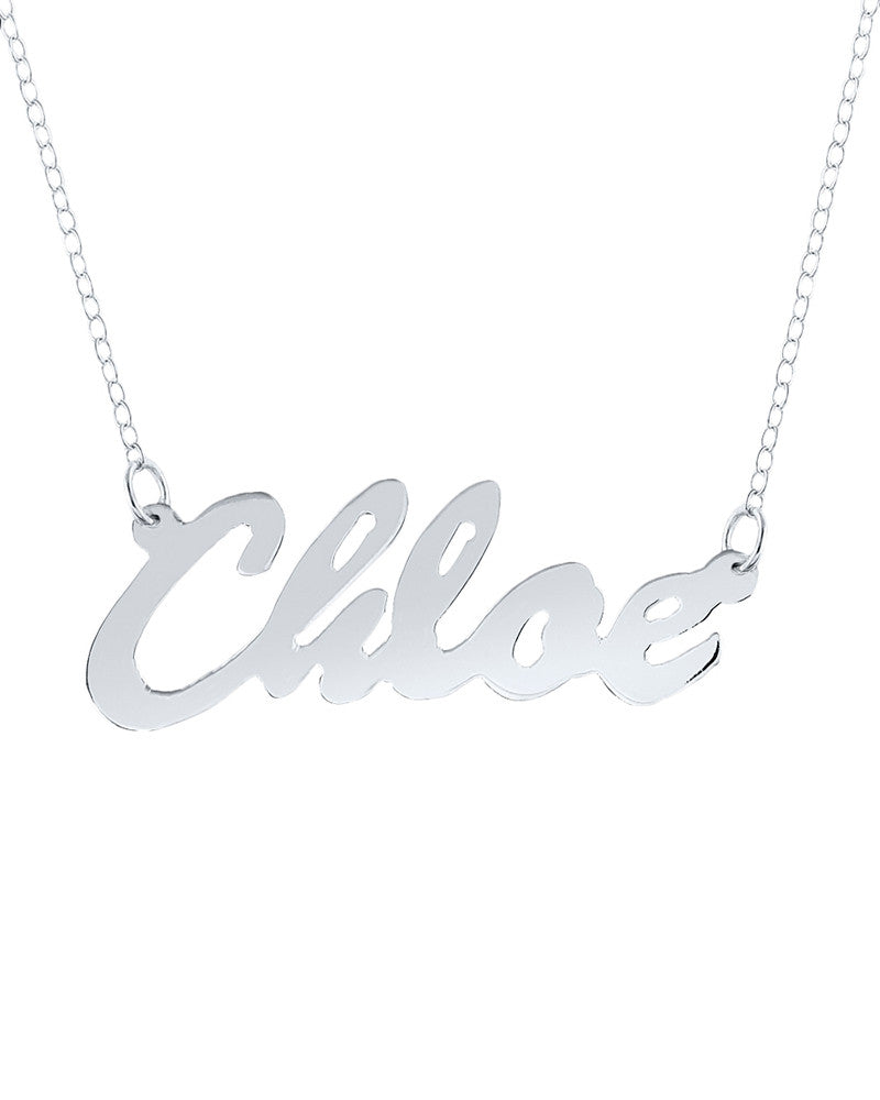 Silver Thin Cursive Personalized Necklace