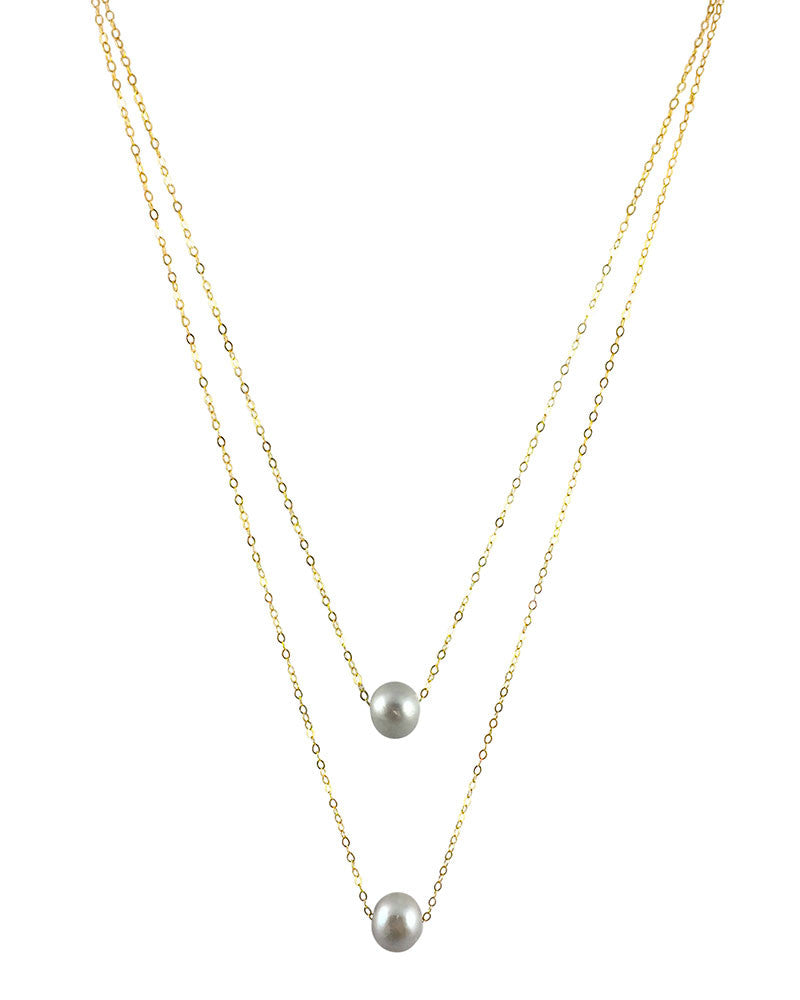 Dove Grey Layered Pearl Necklace