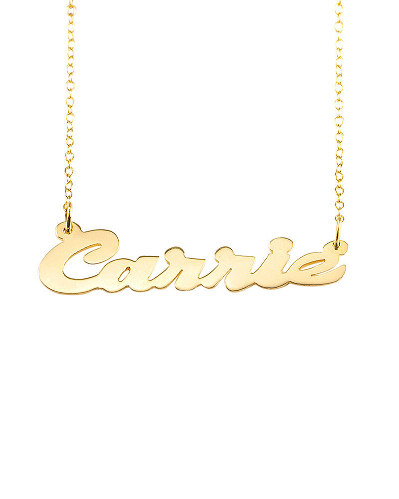 Personalized wide cursive lettering gold necklace