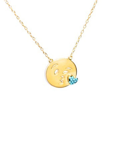 emoji turquoise gold necklace