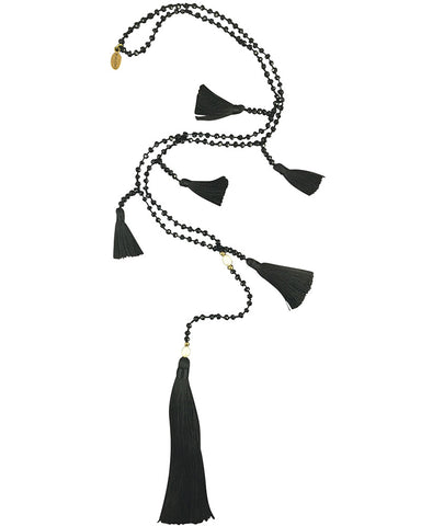 black multi tasseled necklace zacasha