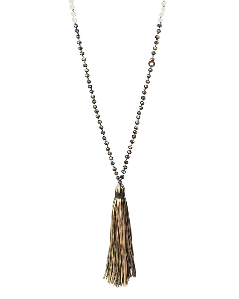 Zacasha Black and White Single Tassel Crystal