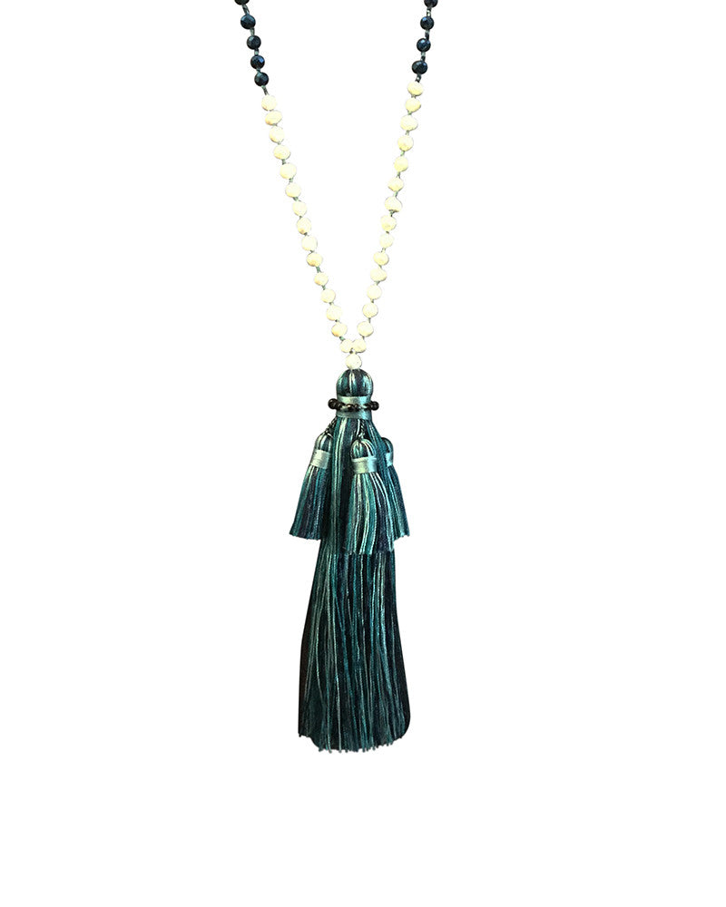 Zacash Blues Multiple Tassel Necklace