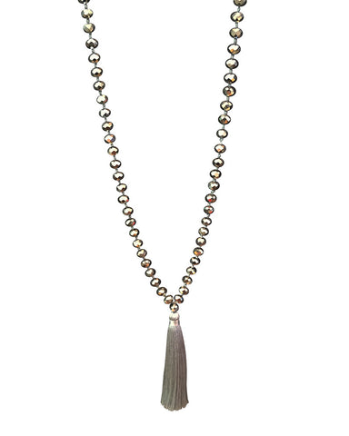 Zacasha Gray Crystal Necklace Close