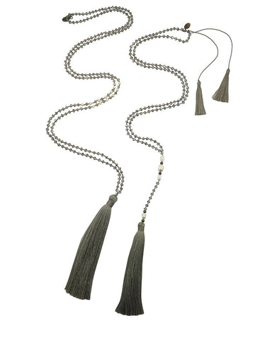 Zacasha Gray Tassel Necklace Set