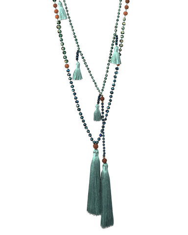Zacasha Turquoise Ganitry Seeds Tassel Necklace Set Close
