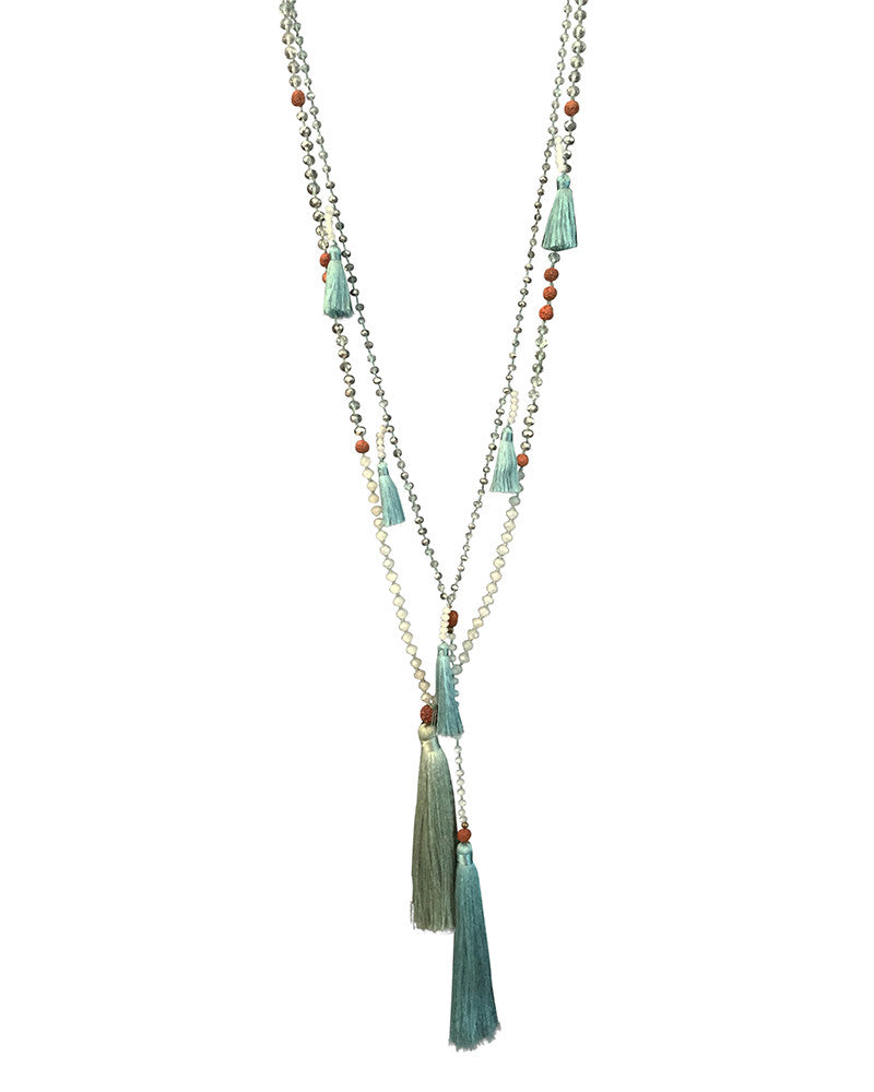 Zacasha Light Blue Ganitry Seeds Necklace Set