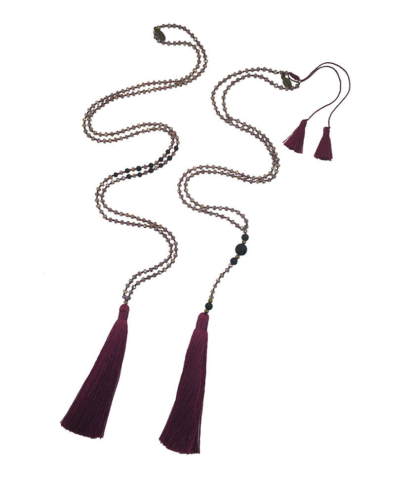 Maroon Tassel Necklace Set Zacasha