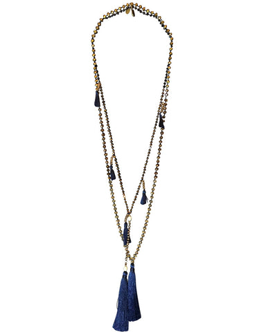Navy blue tassel with beige beads zacasha set