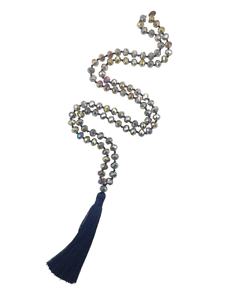Zacasha Navy Blue Cyrstal Tassel Necklace