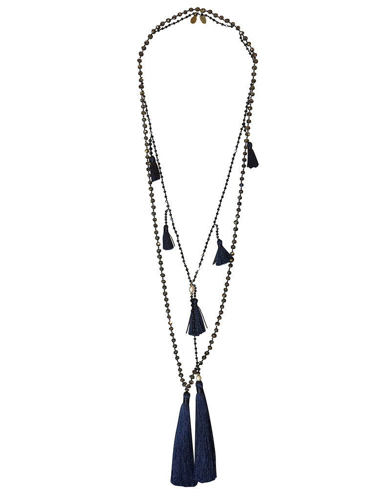 Zacasha Navy Gray Tassel Set