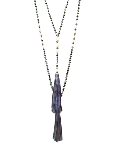 Navy Zacasha Tassel Necklace Set Pearls