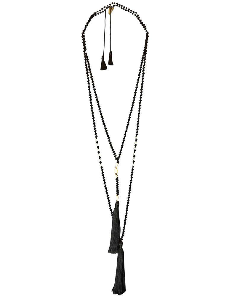 zacasha black pearl necklace set