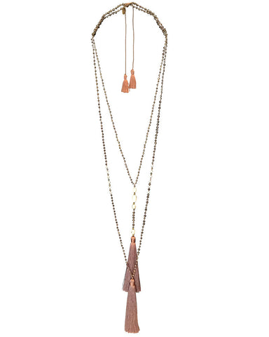 Zacasha Taupe Tassel Necklace Set