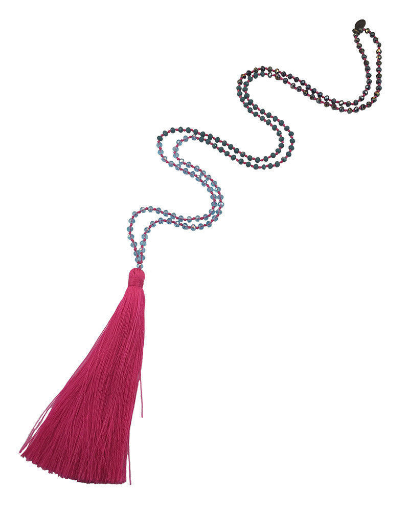 Hot Pink Tassel Necklace Zacasha