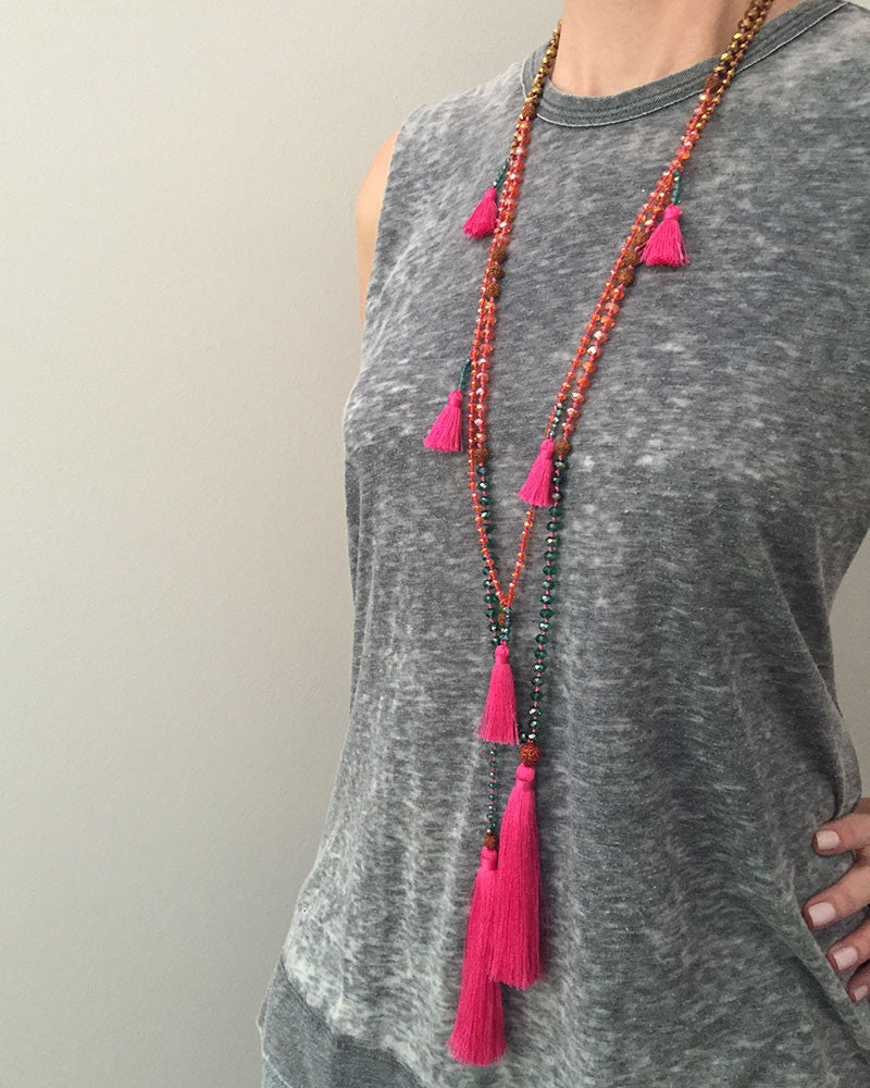 Hot Pink Necklace Tassel Set with Ganitry Seeds