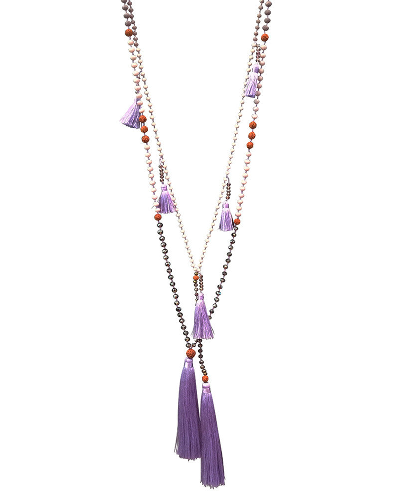 Purple Tassel Necklace Set with Ganitry Seeds Zacasha
