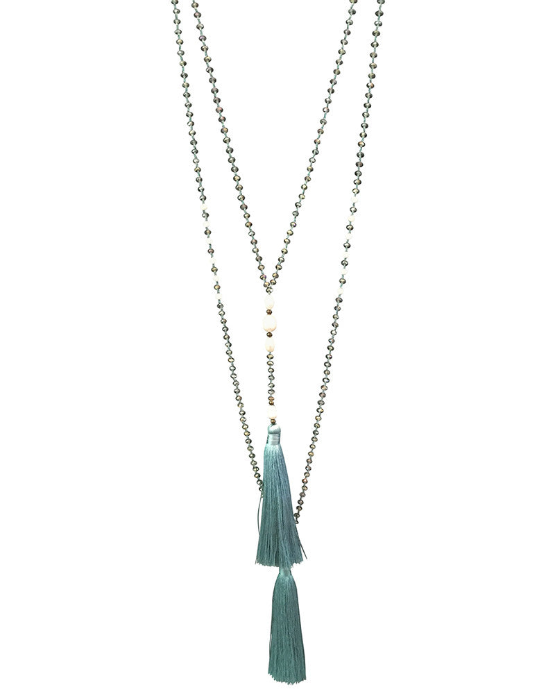 Light Blue Rosario Pearl Necklace Set with Tassels