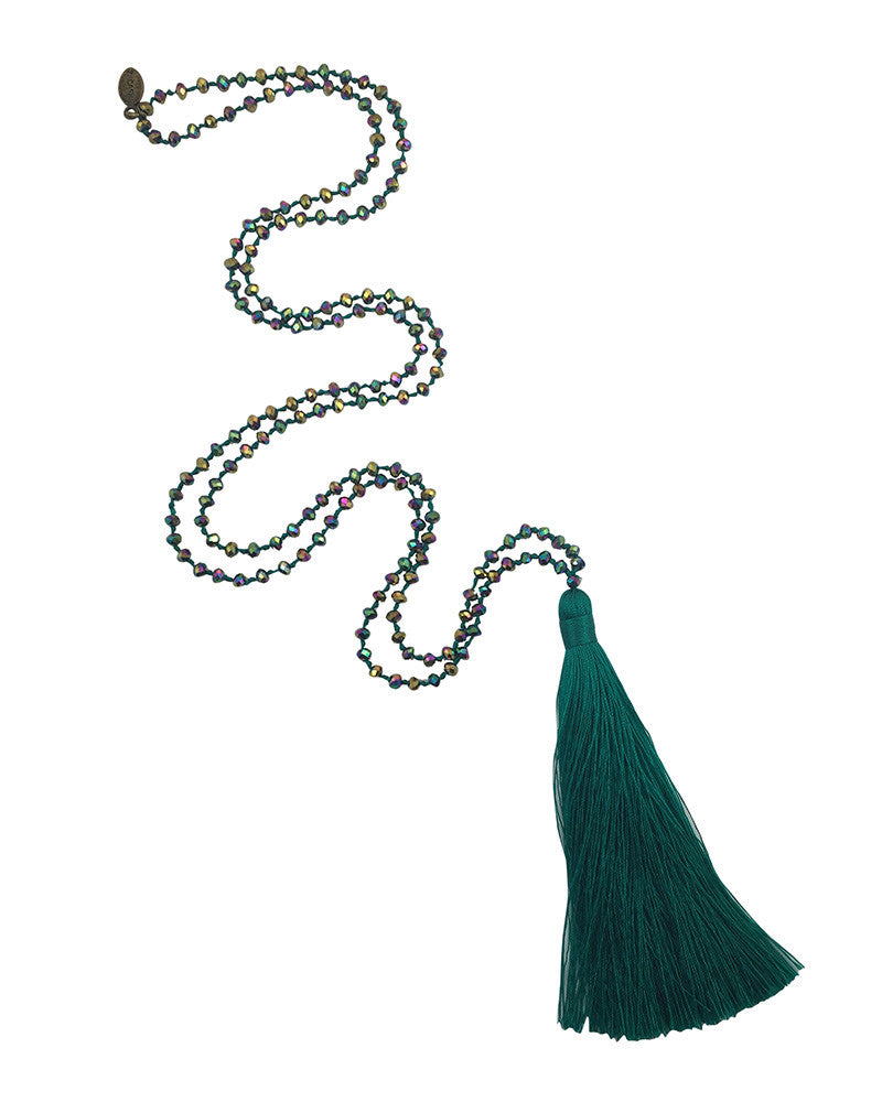 Zacasha Teal Iridescent Tassel Necklace