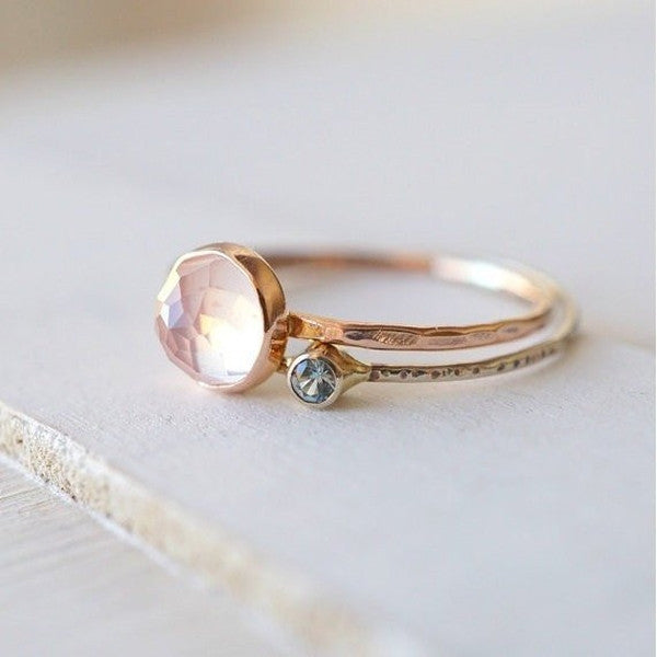 14k Rose Quartz Moissanite Ring Set-Ring-LUXURING