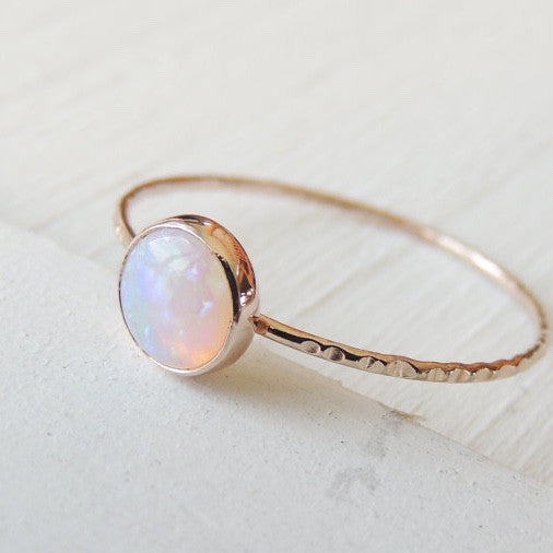 AAA Opal Ring in 14k Gold-Ring-LUXURING
