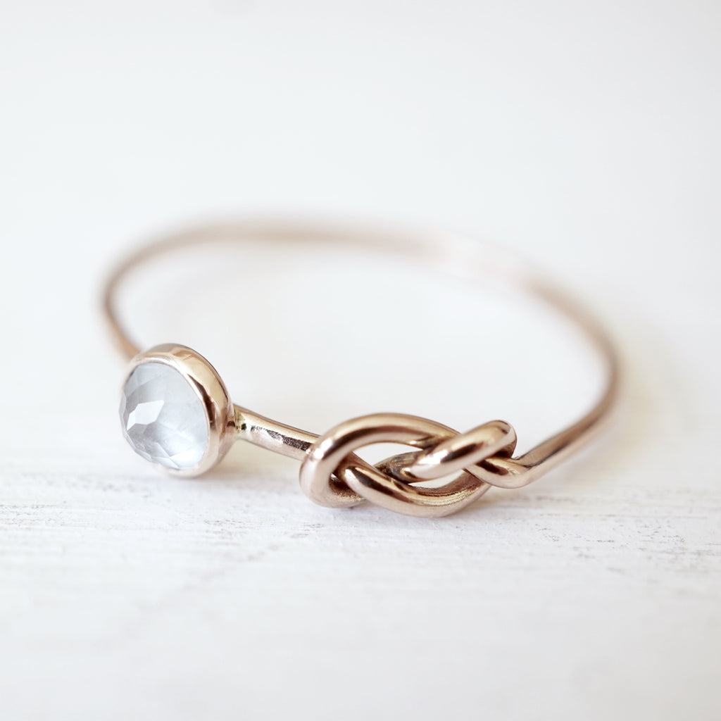Aquamarine Infinity Knot Ring in 14k Gold-LUXURING