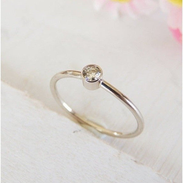 Baby Moissanite Ring in 14k Gold-LUXURING