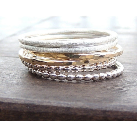 Boho Ring Set in 14k Gold and Sterling Silver-LUXURING