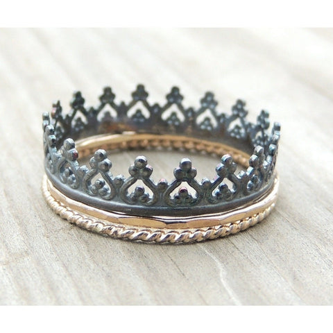 Crown Ring Set in Gold and Silver-LUXURING