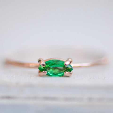Emerald Marquise Ring in 14k Gold-gemstone ring-LUXURING