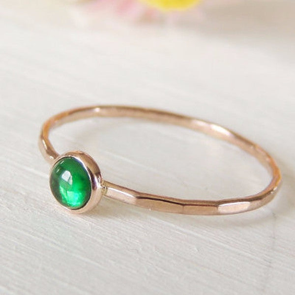 Emerald Ring in 14k Gold-Ring-LUXURING