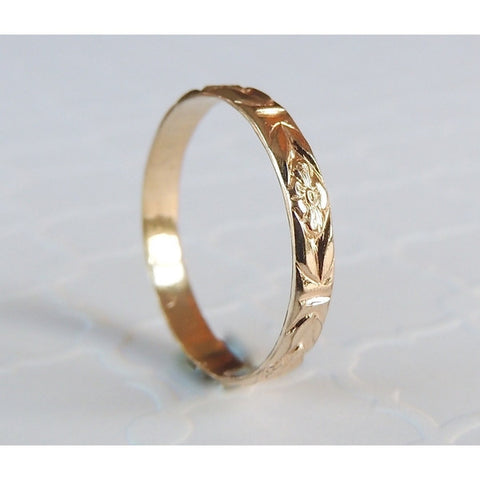 Flower Band in 14k Gold-LUXURING