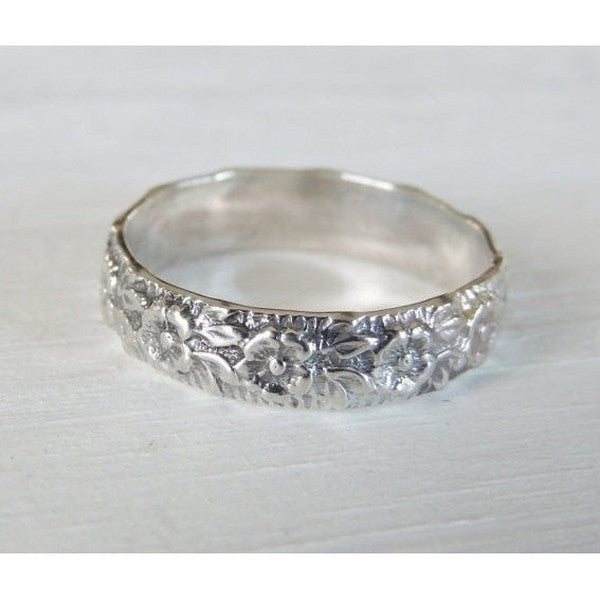 Flower Ring in Sterling Silver-LUXURING
