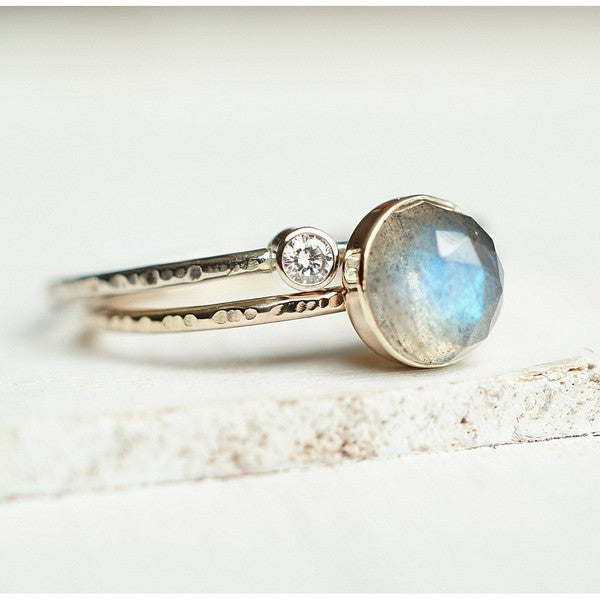 Labradorite Moissanite Ring Set in 14k Gold-Ring-LUXURING