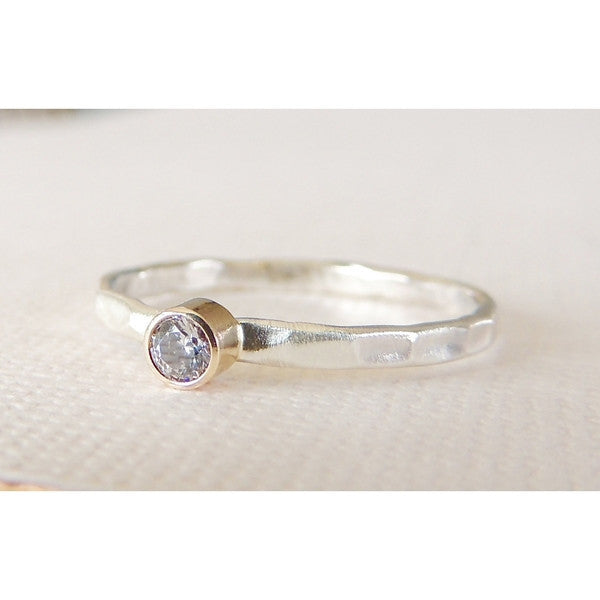 Moissanite Ring in Sterling Silver-LUXURING
