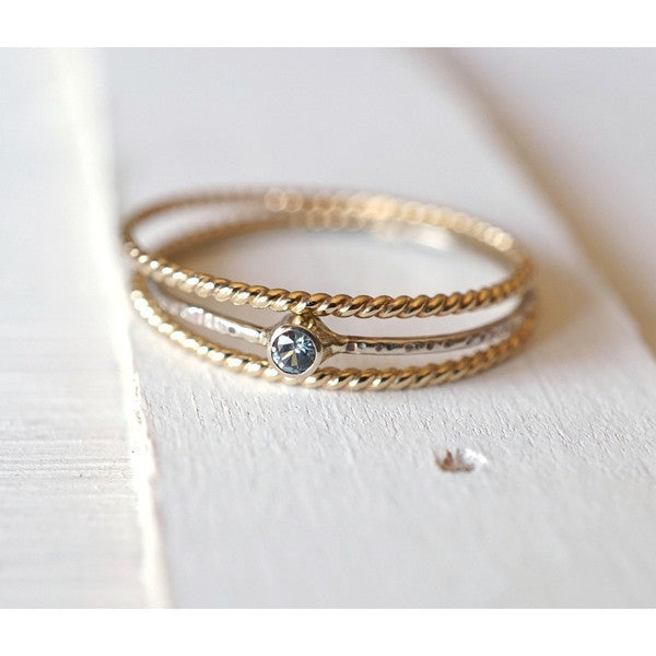 Moissanite Ring Set in 14k Gold-LUXURING