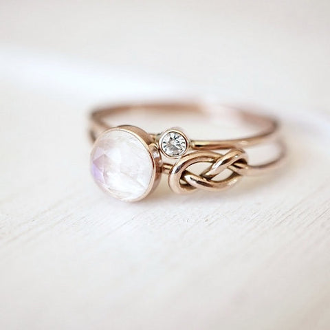 Moonstone and Diamond Ring Set in 14k Gold-Ring Set-LUXURING