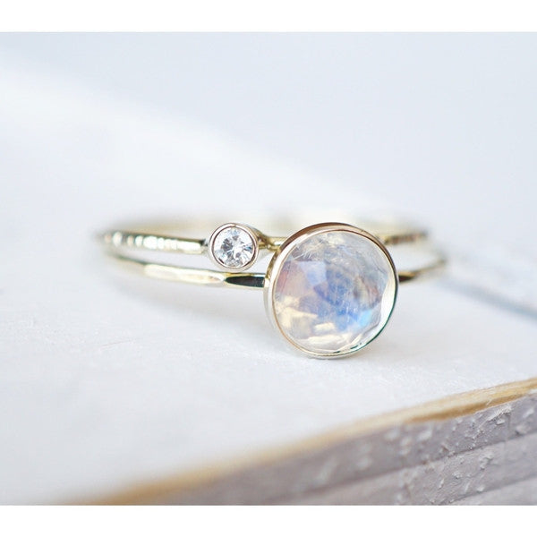 Moonstone Diamond Ring Set in 14k Gold-LUXURING