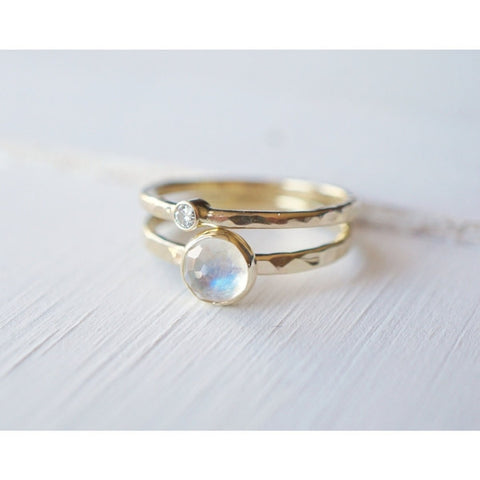 Moonstone Ring Set in 14k Gold-LUXURING