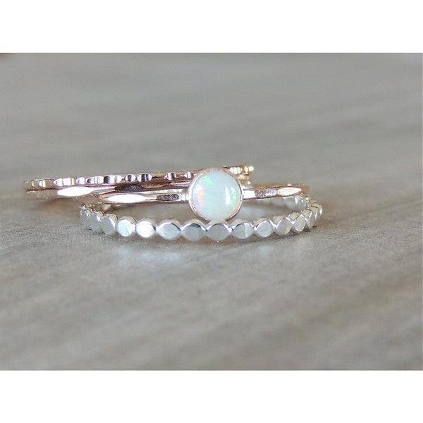 Opal Ring Set in 14k Gold-LUXURING