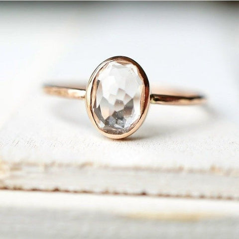 Oval White Topaz Ring in 14k Gold-Ring-LUXURING