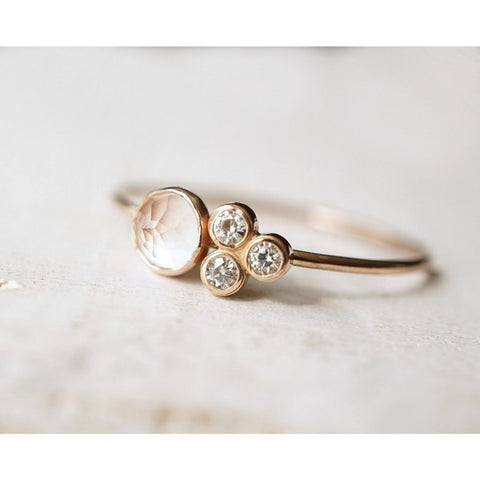 Rose Quartz Cluster Ring in 14 Gold-LUXURING